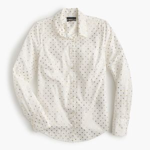 J. Crew Perfect Shirt in Foil Dot Ivory Dark Gold